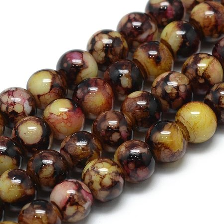 Glassbeads Brown 6mm, strand 135 Pieces