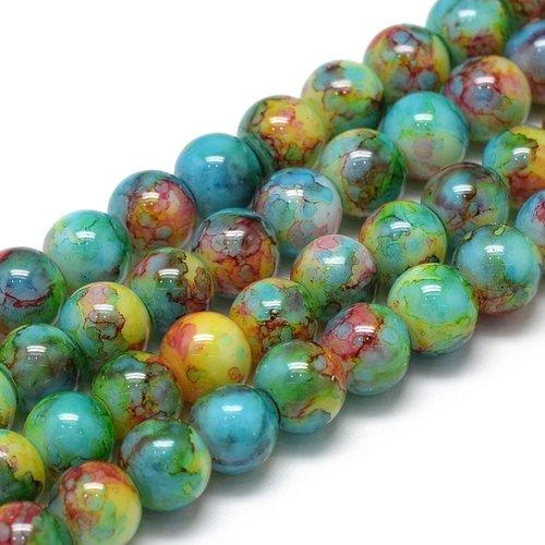 Glassbeads Blue Green 6mm, strand 135 Pieces