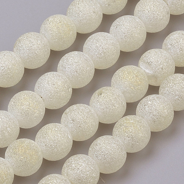 Stardust Glassbeads Off White Plated 6mm, Strand 90 Pieces