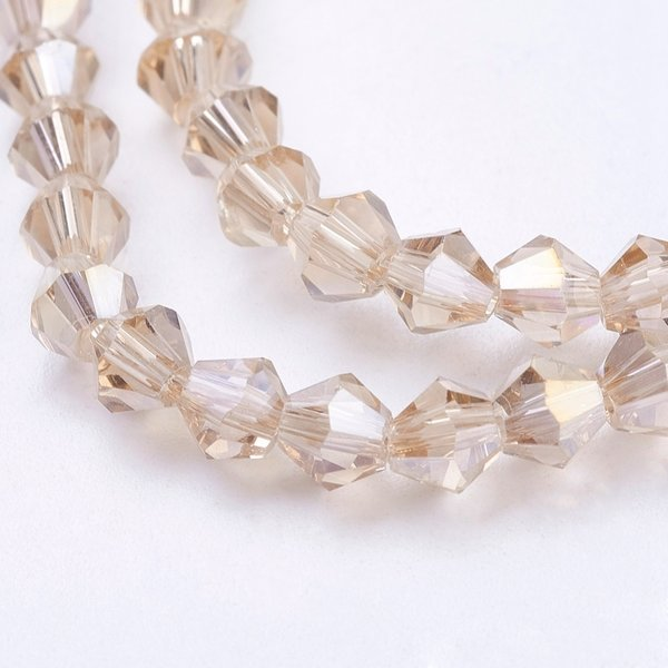Faceted Glassbeads Bicone Beige Shine 4mm, 90 pieces