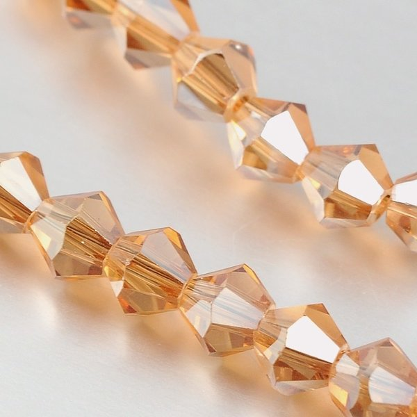 Faceted Glassbeads Bicone Rose Shine 4mm, 90 pieces