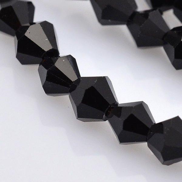 Facet Glaskralen Bicone Zwart 4mm, 90 stuks