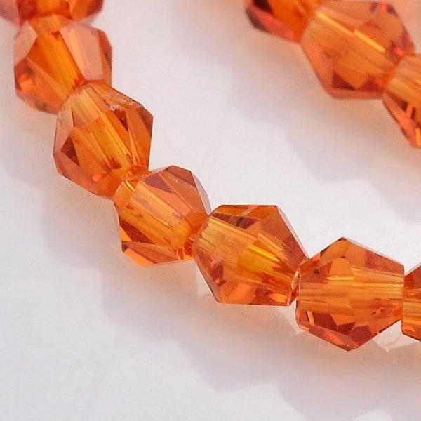 Facet Glaskralen Bicone Oranje 4mm, 90 stuks