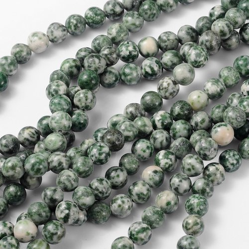 Gemstone Beads Green Spot Jasper 8mm, strand 40 pieces