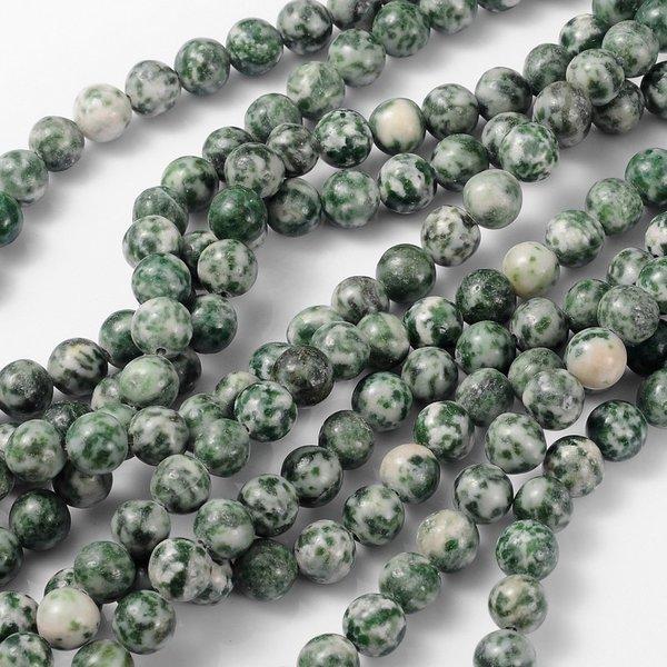 Gemstone Beads Green Spot Jasper 8mm, strand 37cm 40 pieces