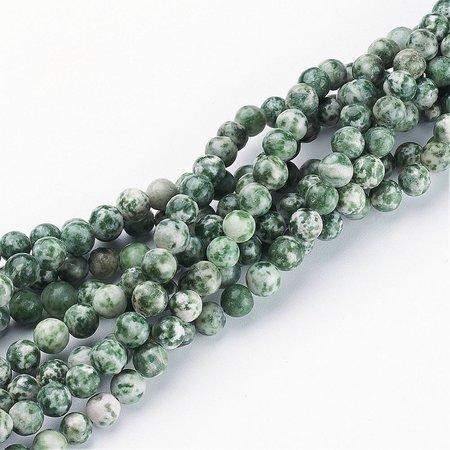 Natural Green Spot Jaspis Kralen Groen 6mm, streng 40 stuks