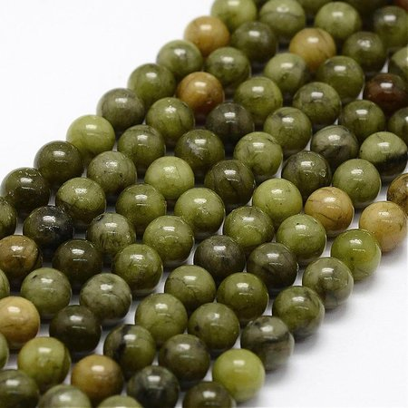 Natural Green Jade Beads 6mm, strand 60 pieces