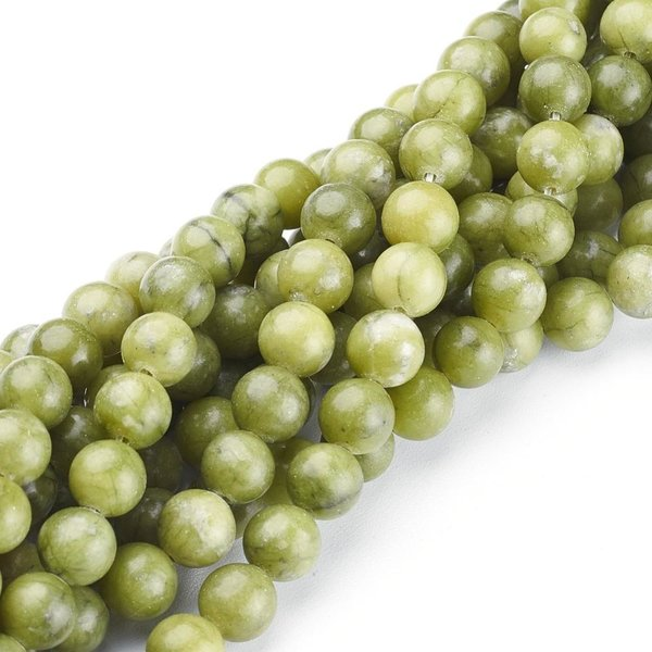 Natural Jade Gemstone Beads Olive 8mm, strand 45 pieces