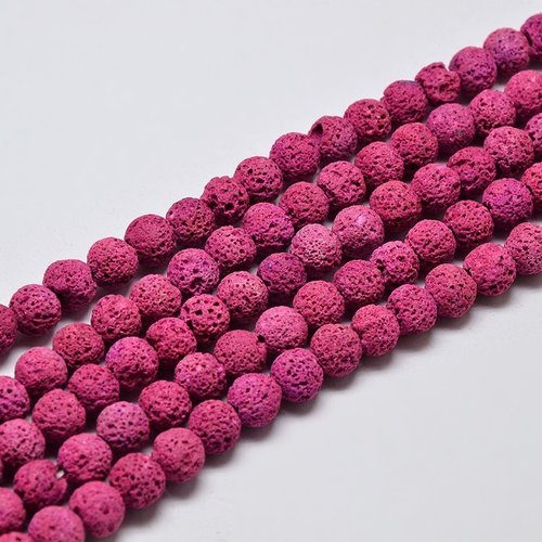 Natural Lavabeads Pink 6mm, Strand 55 Pieces