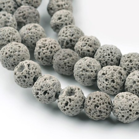 Natural Lavabeads Grey 6mm, Strand 55 Pieces