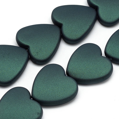 5 pieces Acryl Beads Heart Dark Green 20mm