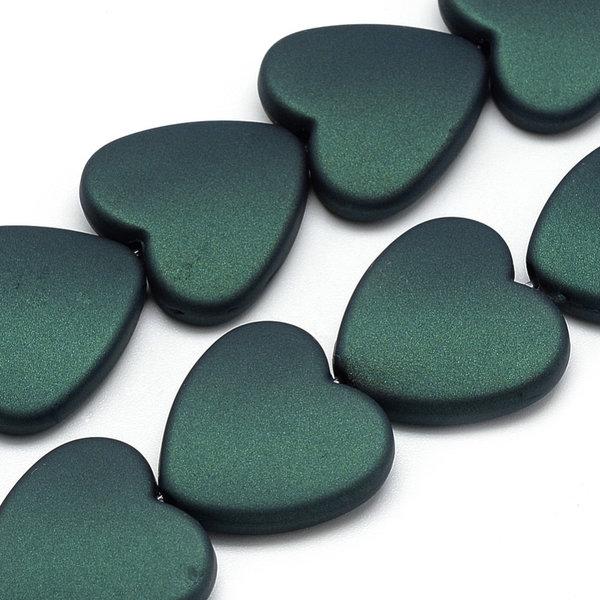 Acryl Beads Heart Dark Green 20mm, 5 pieces