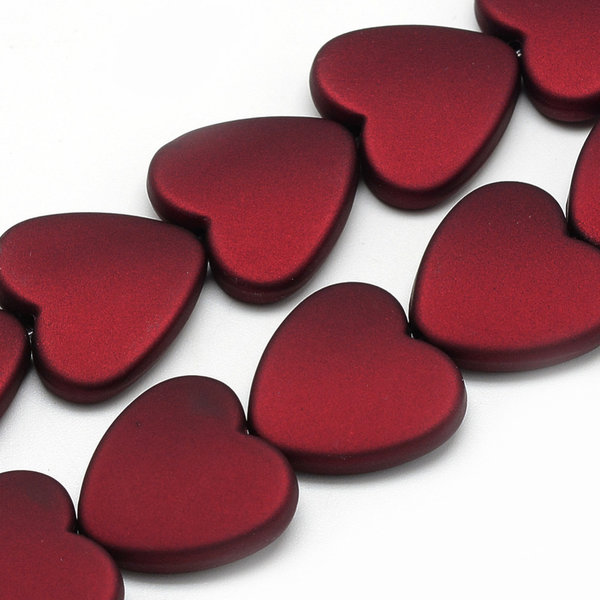 Acryl Beads Heart Red Rubberized Style 20mm, 5 pieces