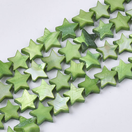 10 pieces Fresh Water Shell Beads Star Green 10mm