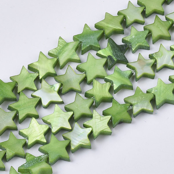 Fresh Water Shell Beads Star Green 10mm, 10 pieces