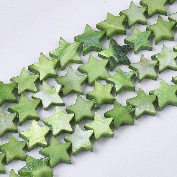 Zoetwater Schelp Kralen Ster Groen 10mm, 10 stuks