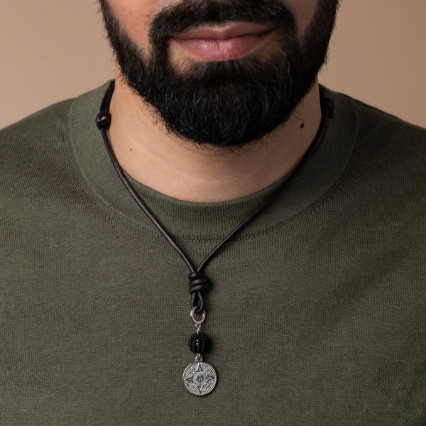 Make Leather Mens Necklace  with Double Charm