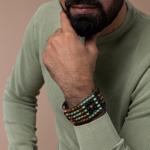 Weave Mens Bracelet  with Wooden Beads
