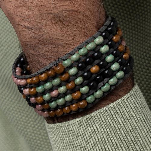 Heren Armband Weven met Houten Kralen