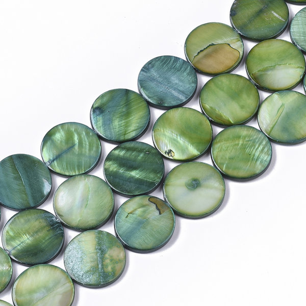 Fresh Water Shell Beads Round Green 20mm, 10 pieces