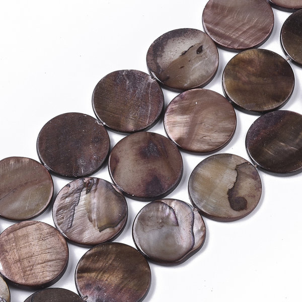 Fresh Water Shell Beads Round Brown 20mm, 10 pieces