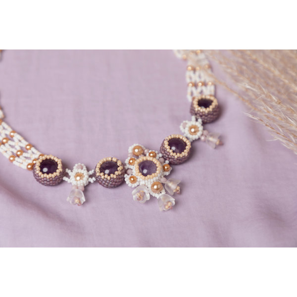 Beadwork Necklace with Purple Flowers