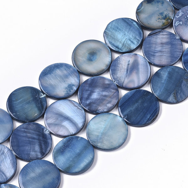 Fresh Water Shell Beads Round Blue 20mm, 10 pieces