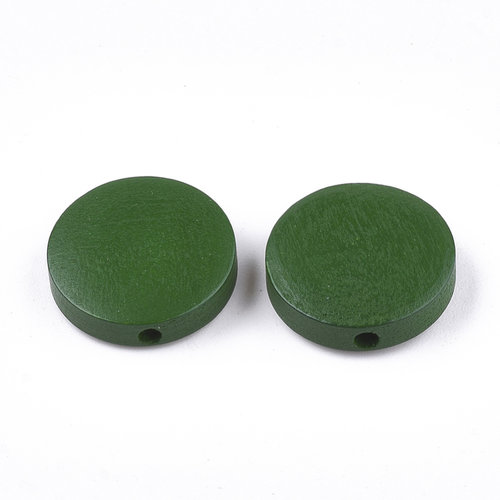 5 pieces Natural Wooden Beads Round Green 15mm