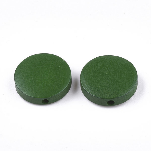 Natural Wooden Beads Round Green 15mm, 5 pieces