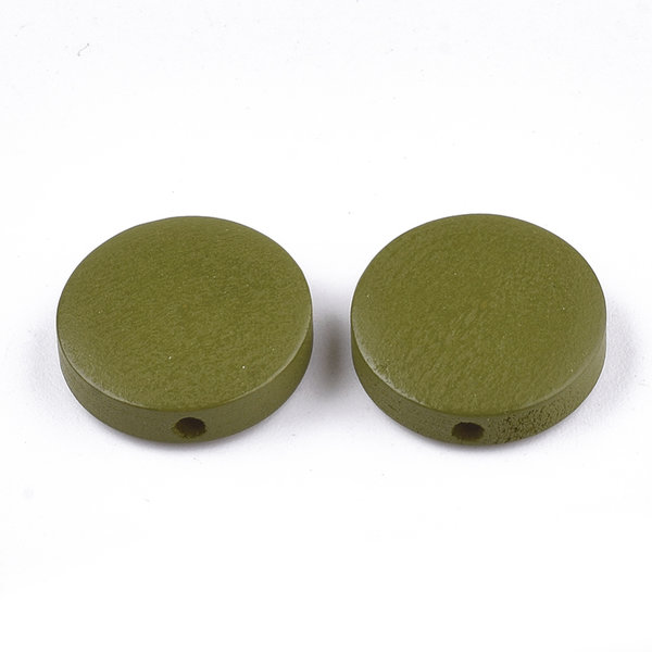 Natural Wooden Beads Round Olive 15mm. 5 pieces