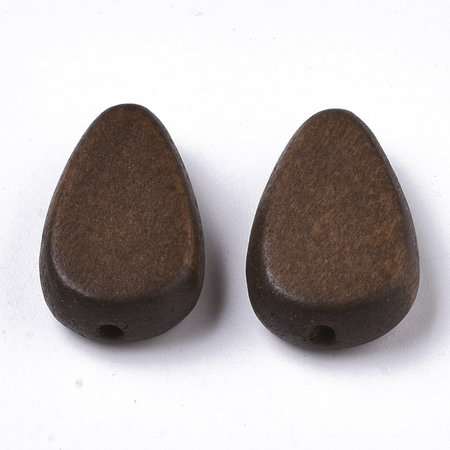 5 pieces Natural Wooden Beads Teardrop Dark Brown 18x12mm
