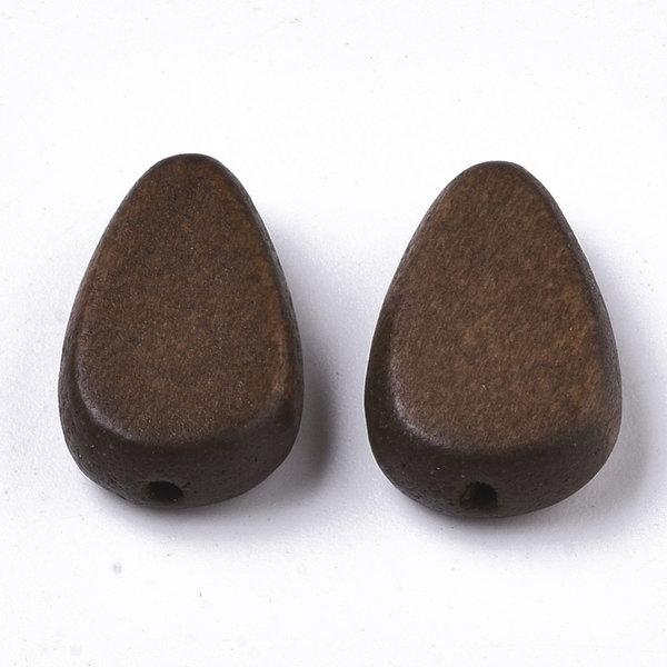 Natural Wooden Beads Teardrop Dark Brown 18x12mm, 5 pieces