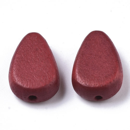 5 pieces Natural Wooden Beads Teardrop Red 18x12mm