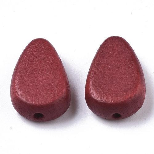 5 stuks Natural Houten Kralen Druppel Rood 18x12mm