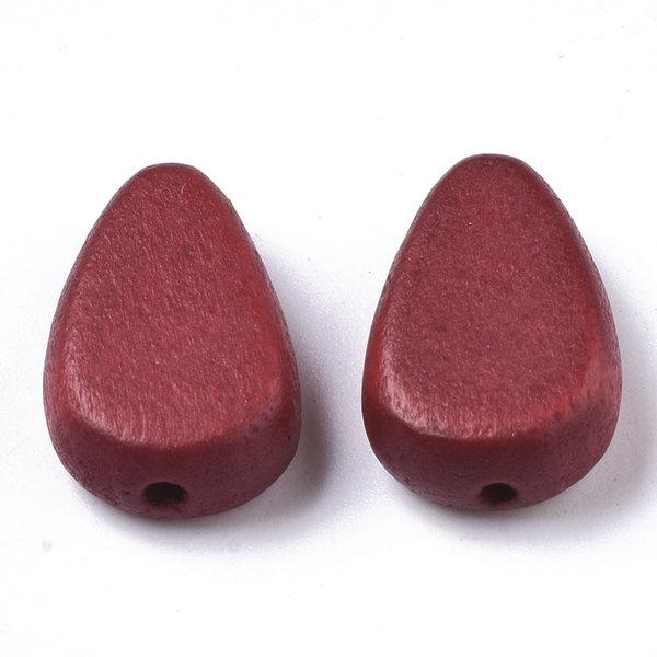 Natural Houten Kralen Druppel Rood 18x12mm, 5 stuks