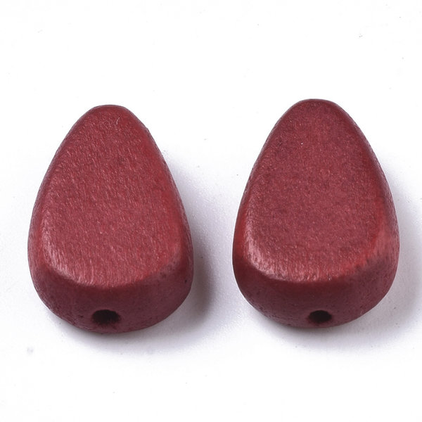 Natural Wooden Beads Teardrop Red 18x12mm, 5 pieces