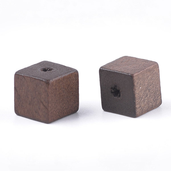 Natural Wooden Beads Cube Brown 10mm, 10 pieces