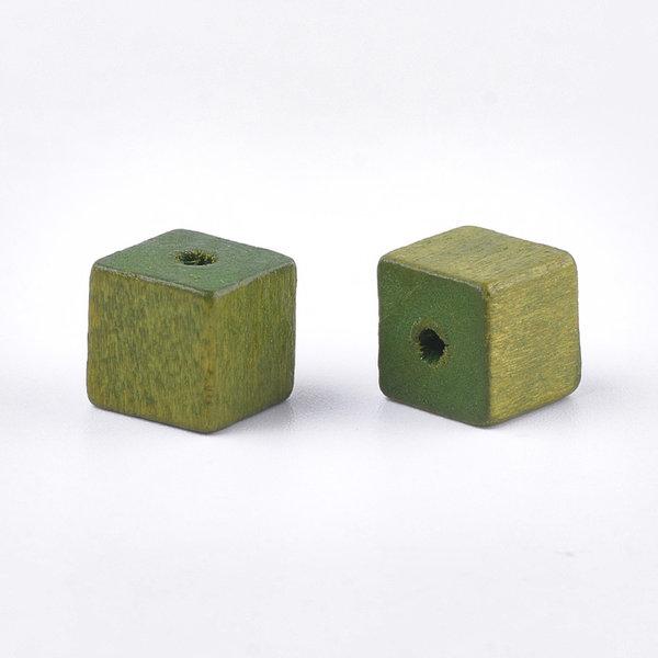 Natural Houten Kralen Kubus Olijf 10mm, 10 stuks