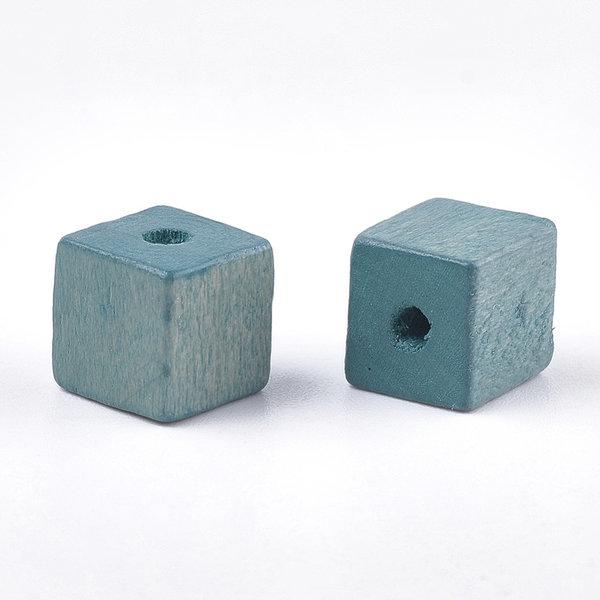 Natural Houten Kralen Kubus Blauw Groen 10mm, 10 stuks