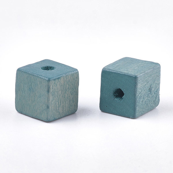 Natural Wooden Beads Cube Blue Green 10mm. 10 pieces