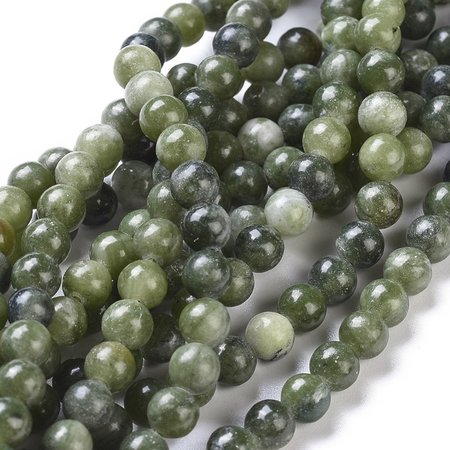 Natural Jade Gemstone Beads Olive 6mm, strand 60 pieces