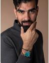 Make Men's Leather Bracelet  with Turquoise Slab