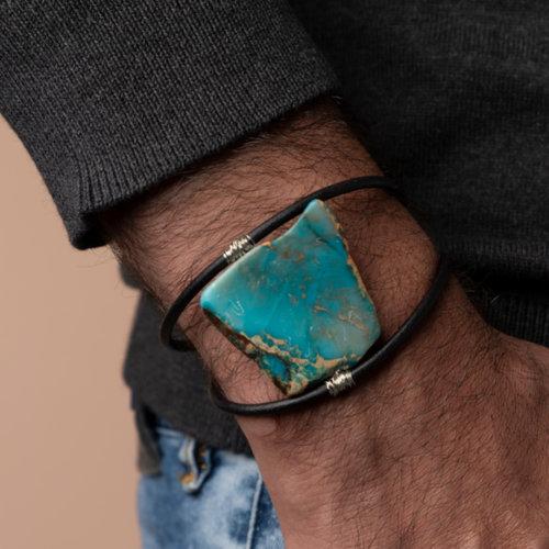 Heren Armband Maken met Turquoise Slab van Leer