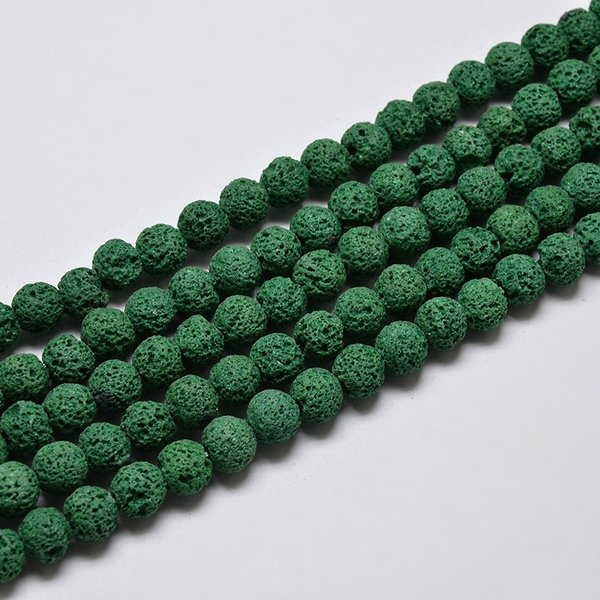 Natural Lavabeads Dark Green 6mm, Strand 55 Pieces