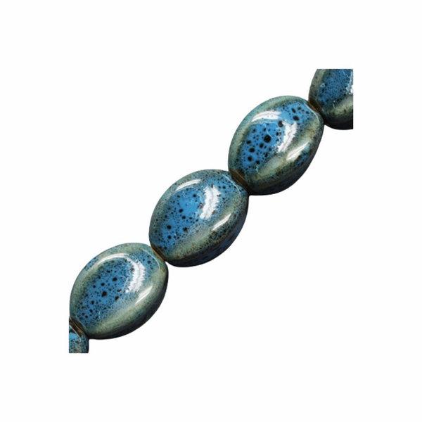 Antieke Kralen Porselein Ovaal Blauw 16x11mm, 5 stuks