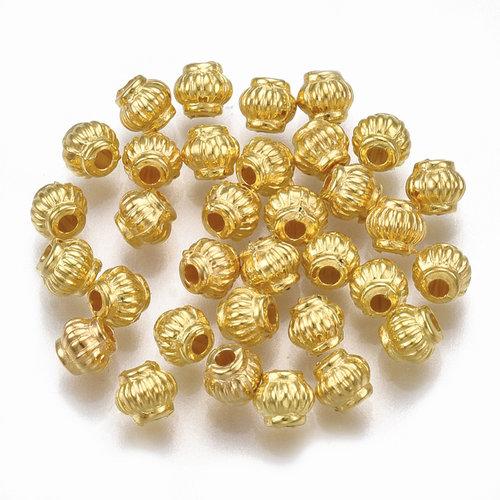 100 Pieces Metal Look Beads Lantarn Golden 4mm