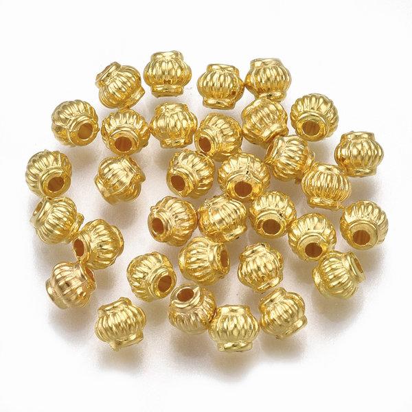 Metal Look Beads Lantarn Golden 4x4mm, 100 pieces