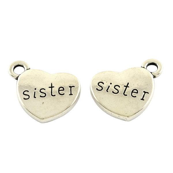 Bedel Sister Zilver 13x15mm Nikkelvrij, 5 stuks