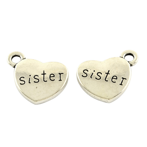 Charm Sister Silver 13x15mm Nickel Free, 5 pieces