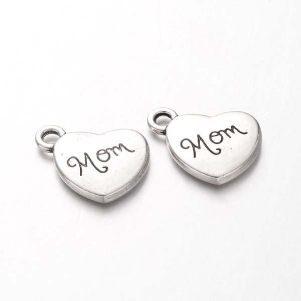 Charm Mom Antique Silver 13x15mm Nickel Free, 3 pieces